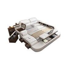 Hakiki deri çok fonksiyonlu masaj yatağı çerçeve İskandinav camas ultimate yatak dikdörtgen tuvalet masası ile kabine dışkı güvenli