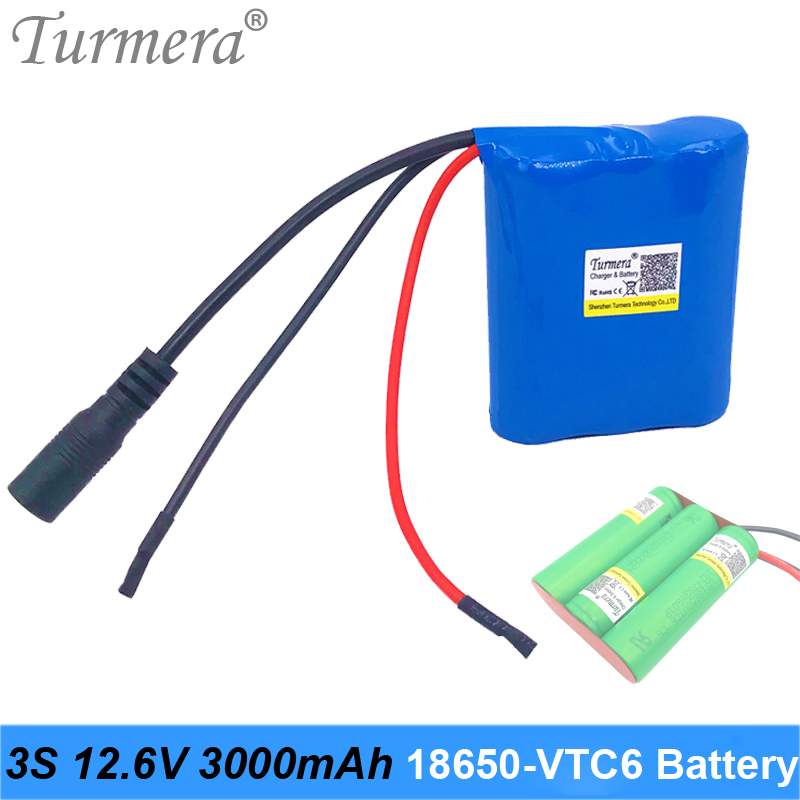 <font><b>3S</b></font> 10.8V 12.6V 3000mAh Reachargeable Lithium <font><b>Battery</b></font> <font><b>Pack</b></font> US18650VTC6 3000mAh 30A <font><b>Battery</b></font> Cell with <font><b>3S</b></font> 40A BMS for Screwdriver image