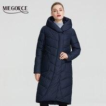 MIEGOFCE 2019 החדש חורף נשים אוסף מעיל חורף נשים מעיל V בצורת צווארון עם הוד שיהיה להגן מהקור