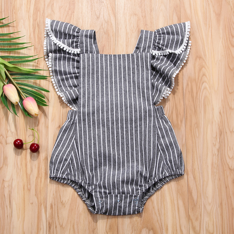 Stripe Ruffled Short Sleeve Rompers For Baby Girl