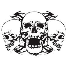 1Pc Skull Head Totem Auto Sticker Car Body Racing Side Door Long Stripe Stickers Auto Vinyl Decal Three Skull Totems Car Decal day of the dead girl skull head vinyl wall decal sticker