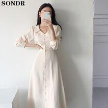 Корейское шикарное платье средней длины с длинным рукавом осень