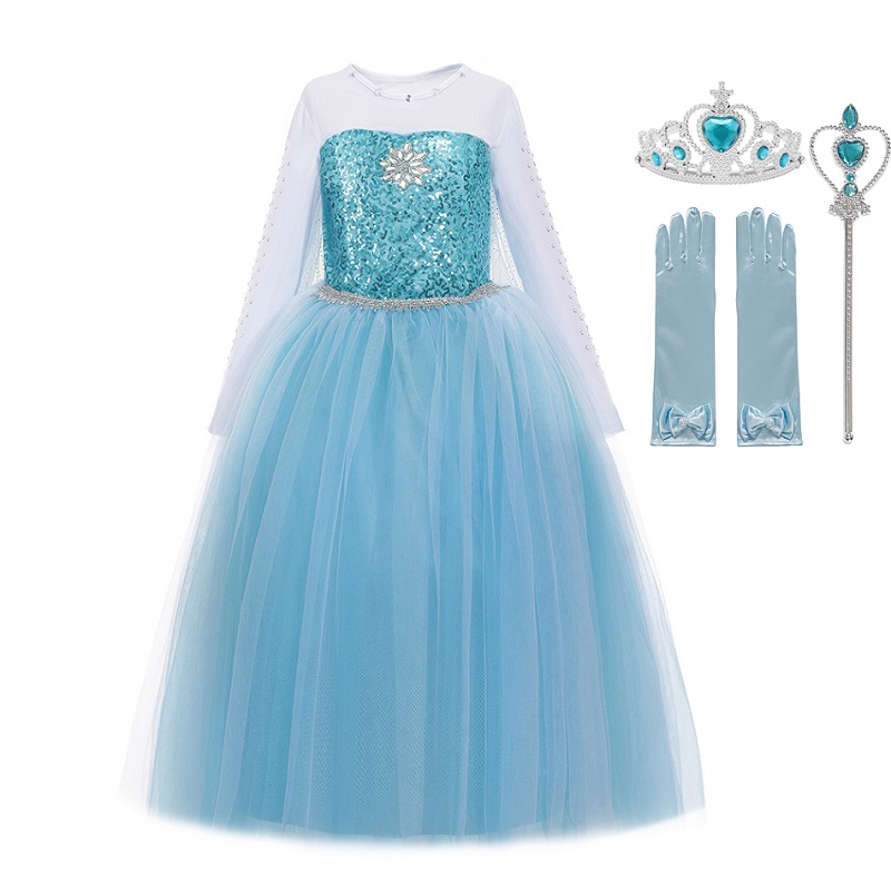 MUABABY Girls Elsa Costume Blue Queen Princess Dress up with Long Train Halloween Christmas Party Sequined Fantasy Outfits princess dress princess dress upelsa costume - AliExpress