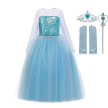 MUABABY Girls Elsa Costume Blue Queen Princess Dress up with Long Train Halloween Christmas Party Sequined Fantasy Outfits