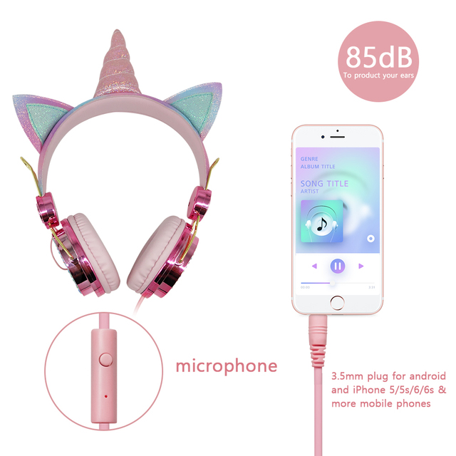 Cute Unicorn Wired Headphone With Microphone Girls Daugther Music Stereo Earphone Computer Mobile Phone Headset Kid Gift, or box 5