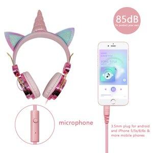 Image 5 - חמוד Unicorn Wired אוזניות עם מיקרופון בנות Daugther מוסיקה סטריאו אוזניות מחשב נייד טלפון גיימר אוזניות ילדי מתנה