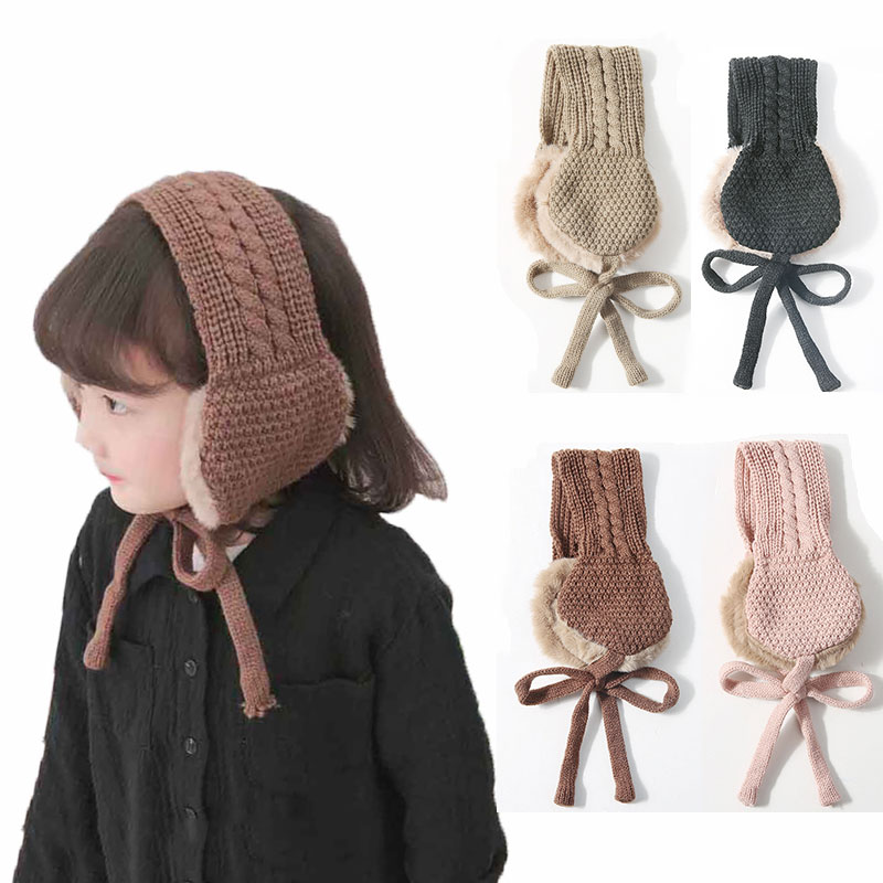 Kids Vintage Wool Ear Covers Cute Tie Warm Knit Autumn Winter Girls Head Wear Accessories Solid Color With Ball Earmuffs