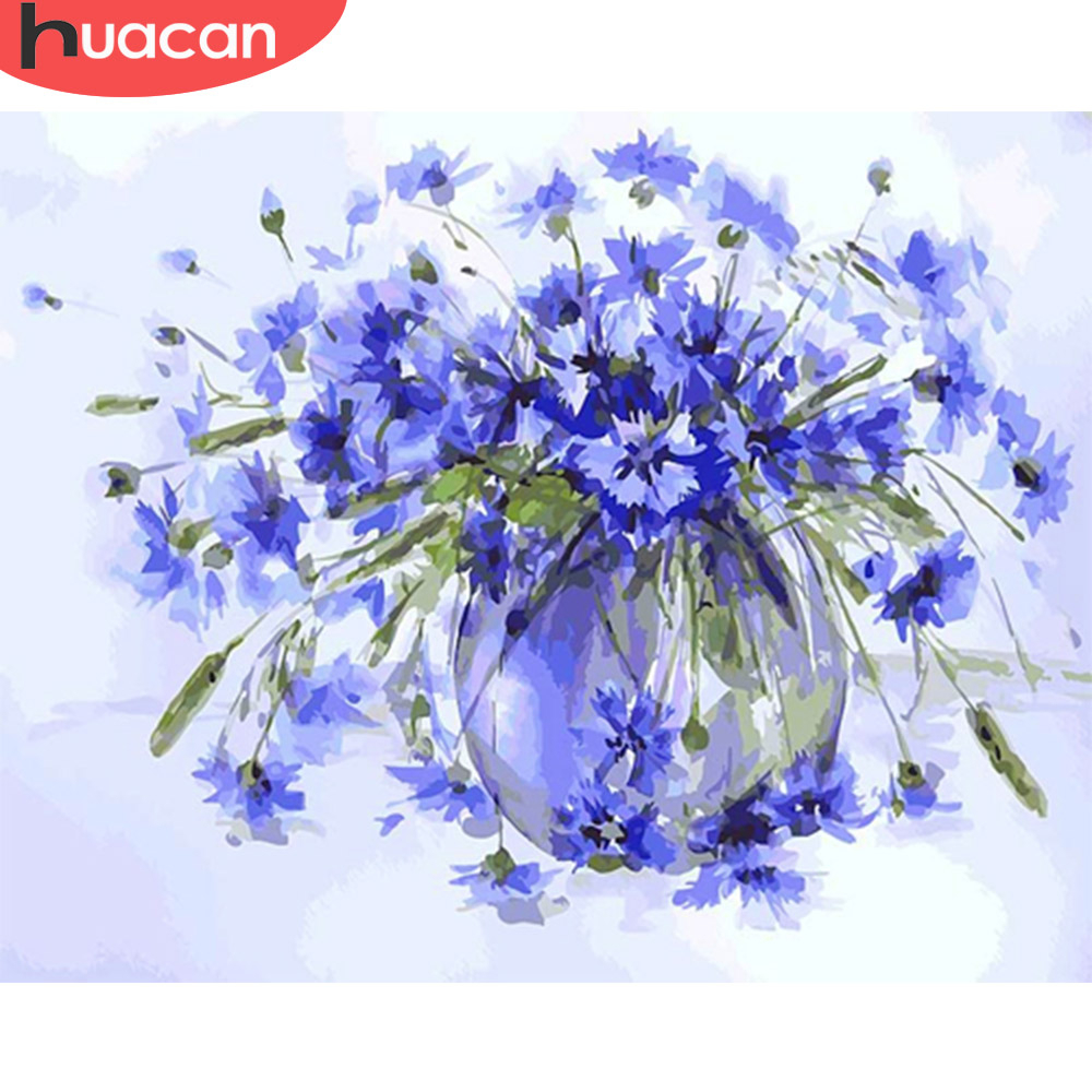 HUACAN Paint By Numbers Flower Drawing On Canvas HandPainted Painting Art Gift DIY Pictures By Number Flower Kits Home Decor