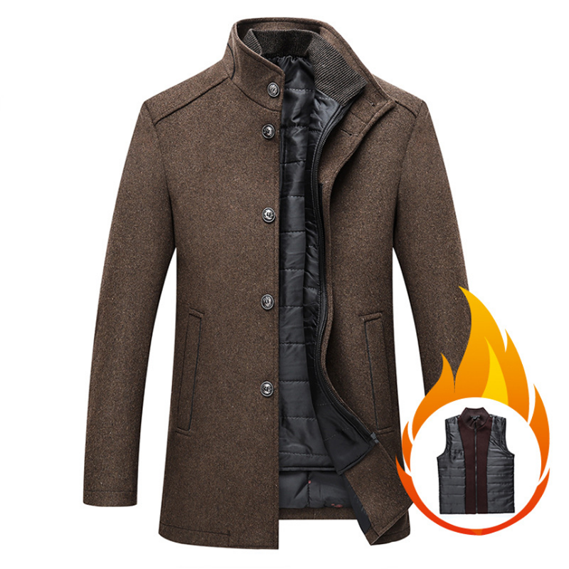 mens wool winter coats jacke Thick Overcoats Topcoat Mens Single Breasted Coats And Jackets With Adjustable Vest 4 Colours M-3XL