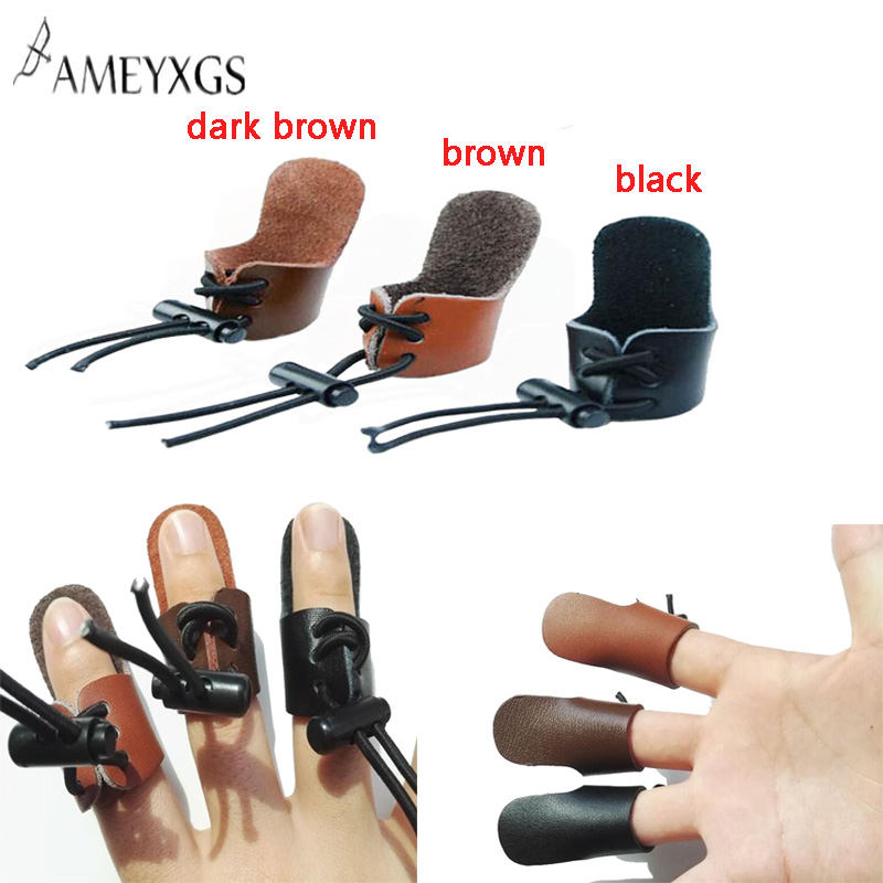 3pc Archery Finger Tab Leather Finger Guard Thumb Ring Finger Protector Guard Adjustable Thumb Protector Shooting Accessories