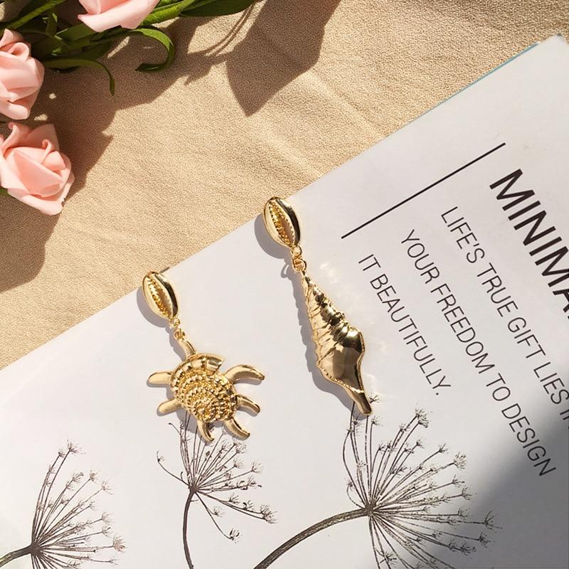 New Boho Cowrie Shell Earrings Women Gold Geometric asymmetry Starfish Conch Statement Earring Brincos 2019 Fashion Jewelry in Stud Earrings from Jewelry Accessories
