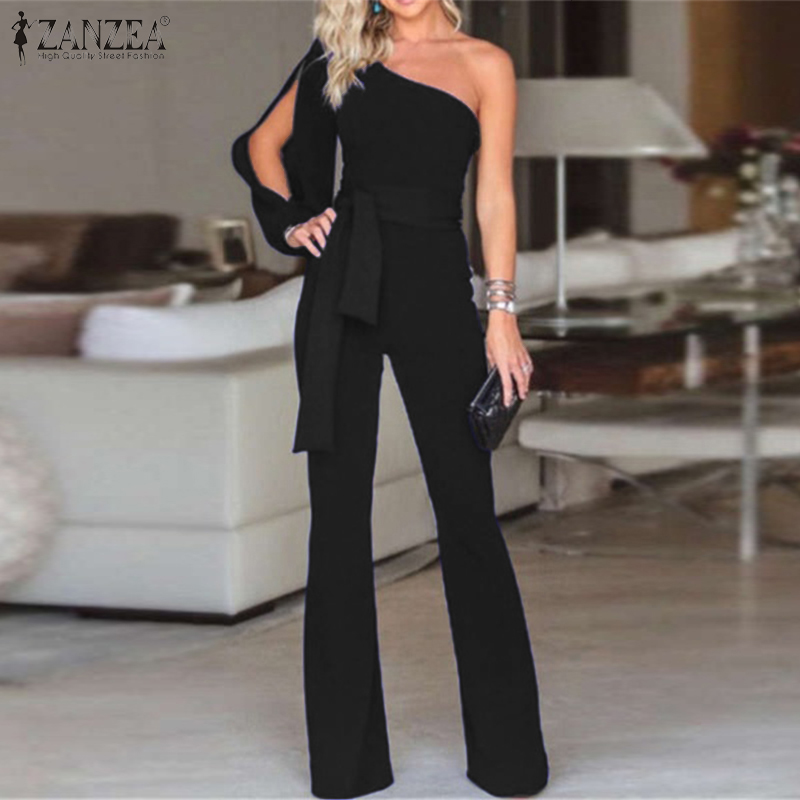 2020 ZANZEA Women Jumpsuits Summer Off Shoulder Rompers Casual Office Lady Playsuits Overalls Solid High Wasit Long Flare Pants7