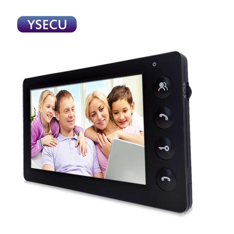 Ysec7''cableado 1000TVL negro Video intercomunicador timbre de la Cámara Color LCD Monitor interior desbloquear dos vías que habla vídeo puerta teléfono