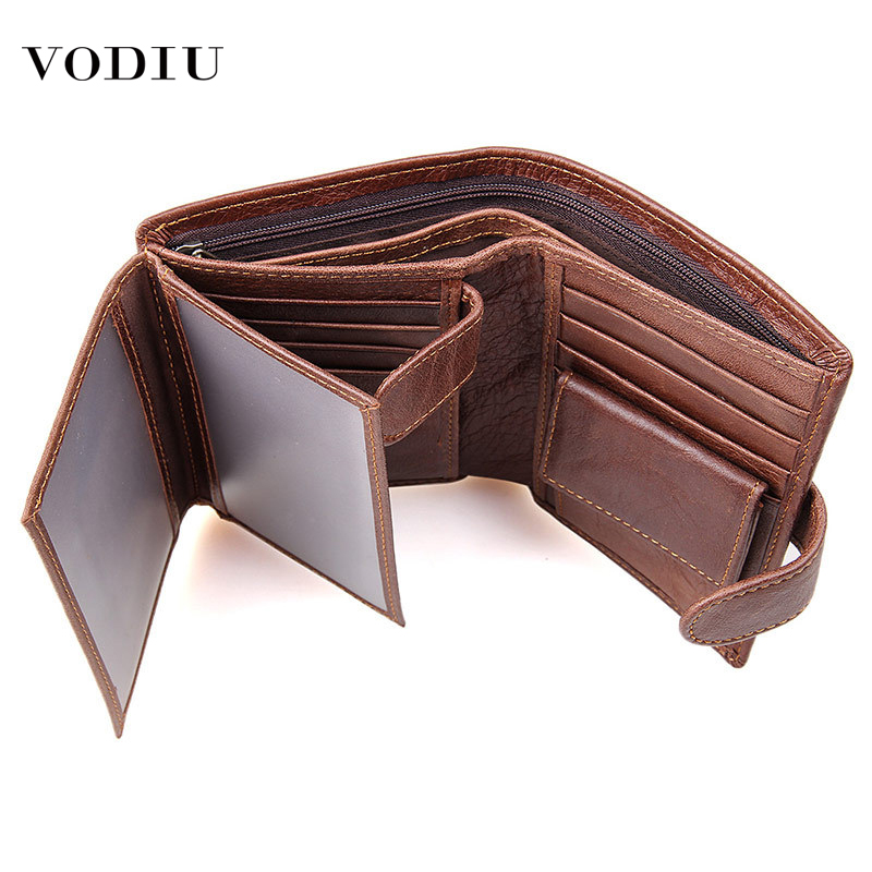 Men Wallets Fashion Brand Clutch Folding Clip Coin Card Multi-function Short Purse Male RFID Theft Genuine Leather Wallet Male