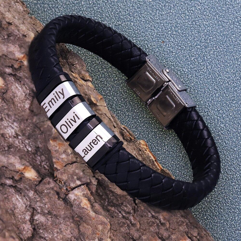 Индивидуальный мужской браслет из натуральной кожи, бусины из нержавеющей стали на заказ, Шарм-браслет с именем, ювелирные изделия для мужч...