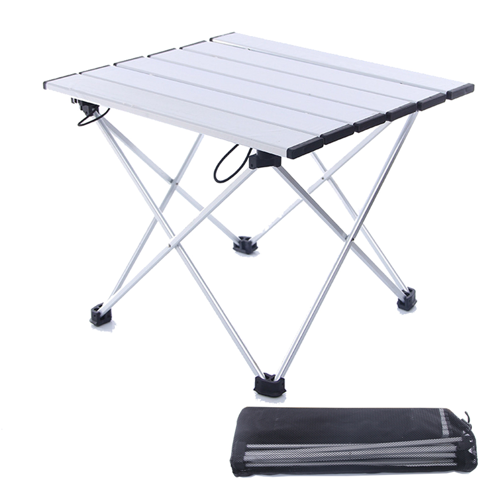 HooRu Backpacking Table Beach Fishing Portable Folding Aluminum Table Outdoor Lightweight Foldable Camping Furniture Garden Desk