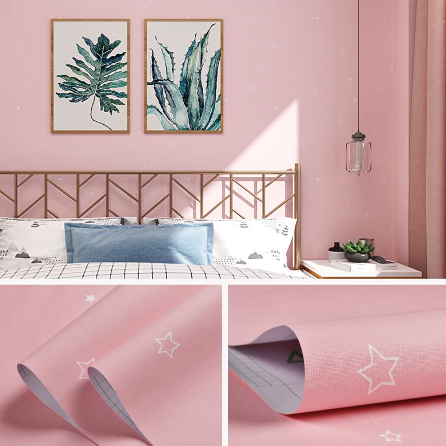 Cute Pink Star Wallpaper Baby Girl Boy Room Decor 3d Self-adhesive Black White Stars PVC Wall Papers For Children Bedroom QZ167