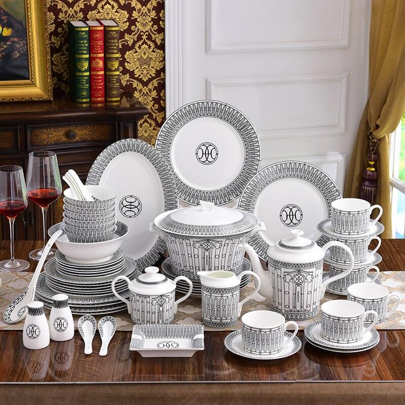 De luxe En Porcelaine Ensemble de Vaisselle Blanc et Noir En Porcelaine Cuisine Maison Accessoires Européenne Servant Le Dîner Assiettes Bols
