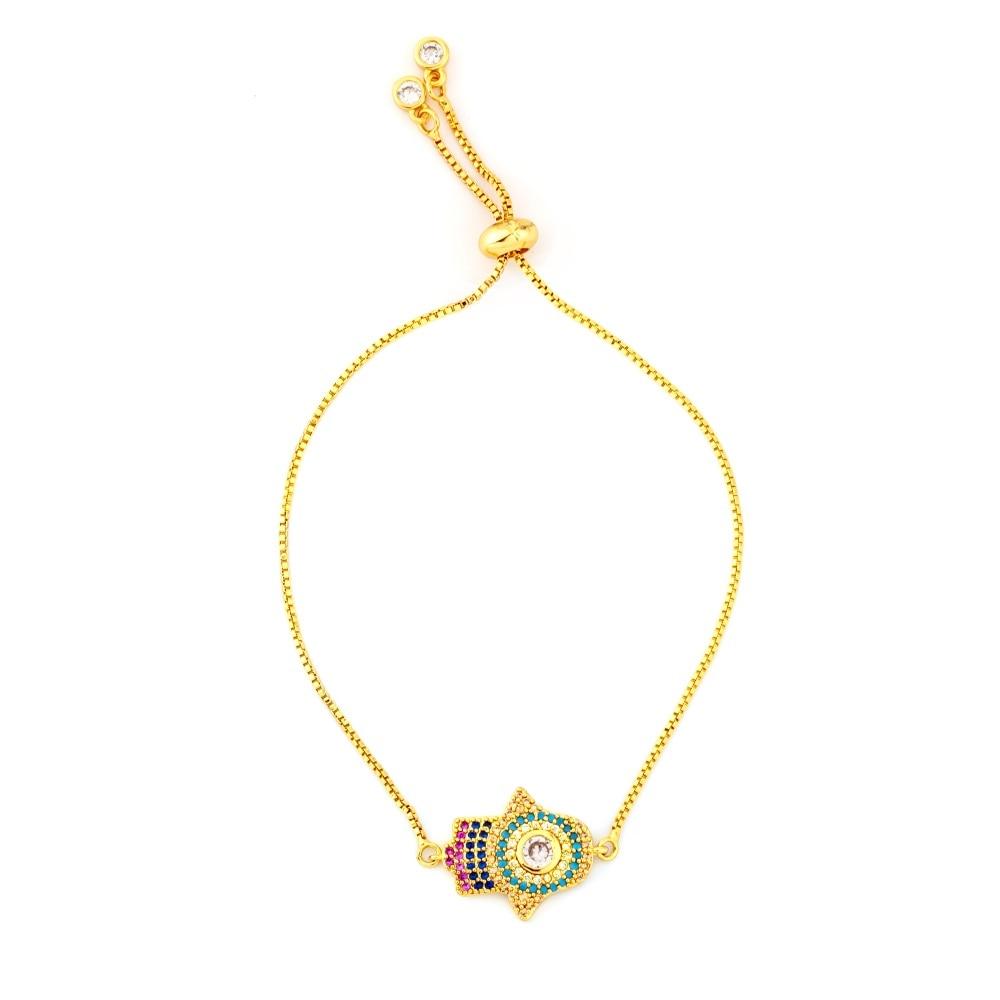 Горячее золото циркония браслет и браслет женский Радужное покрытие браслет Роскошный Регулируемый сердце злой глаз змея цепь браслет - Окраска металла: BRB57-C