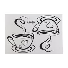New Design Decals Pair Of Coffee Cups Wall Stickers Heart Shape Vinyl Wall Decal For Dining Room Removable Decoration Cafe(China)
