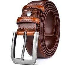 Del Cuoio Genuino Degli Uomini Della Cinghia Del Vestito Classico Cucita Design 38 Millimetri All Leather Regolare Grande E Grosso Taglie