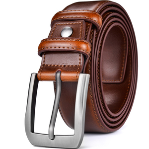 Image 1 - Mens Genuine Leather Dress Belt Classic Stitched Design 38mm ALL LEATHER Regular Big and Tall Sizes