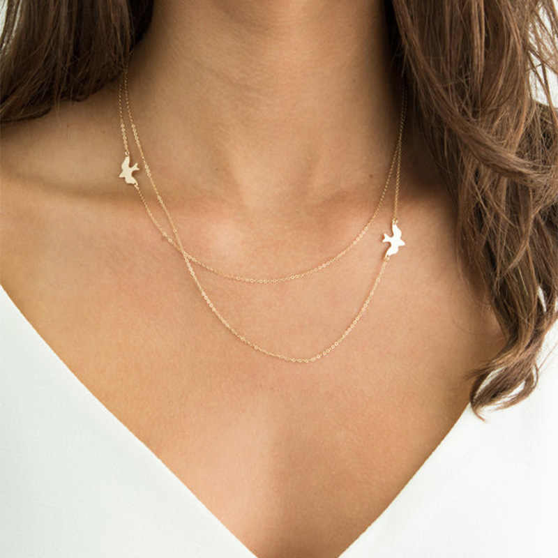 Trendy Design Peace Bird Shape Pendant Necklace Gold Silver Color Multilayer Clavicle Chain Necklace Women Neck Jewelry XL1061