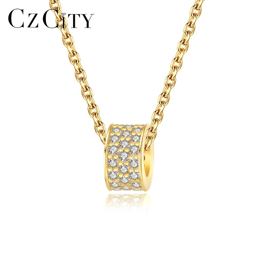 CZCITY Circle Pendant Necklace AAA CZ Stone Fine Necklace 925 Sterling Silver Jewelry for Women Dating Christmas Gifts FN-0274