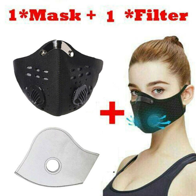 2020 Solid Unisex Face Shield  5 Layers Filter Safety protection Mask Wit Filter
