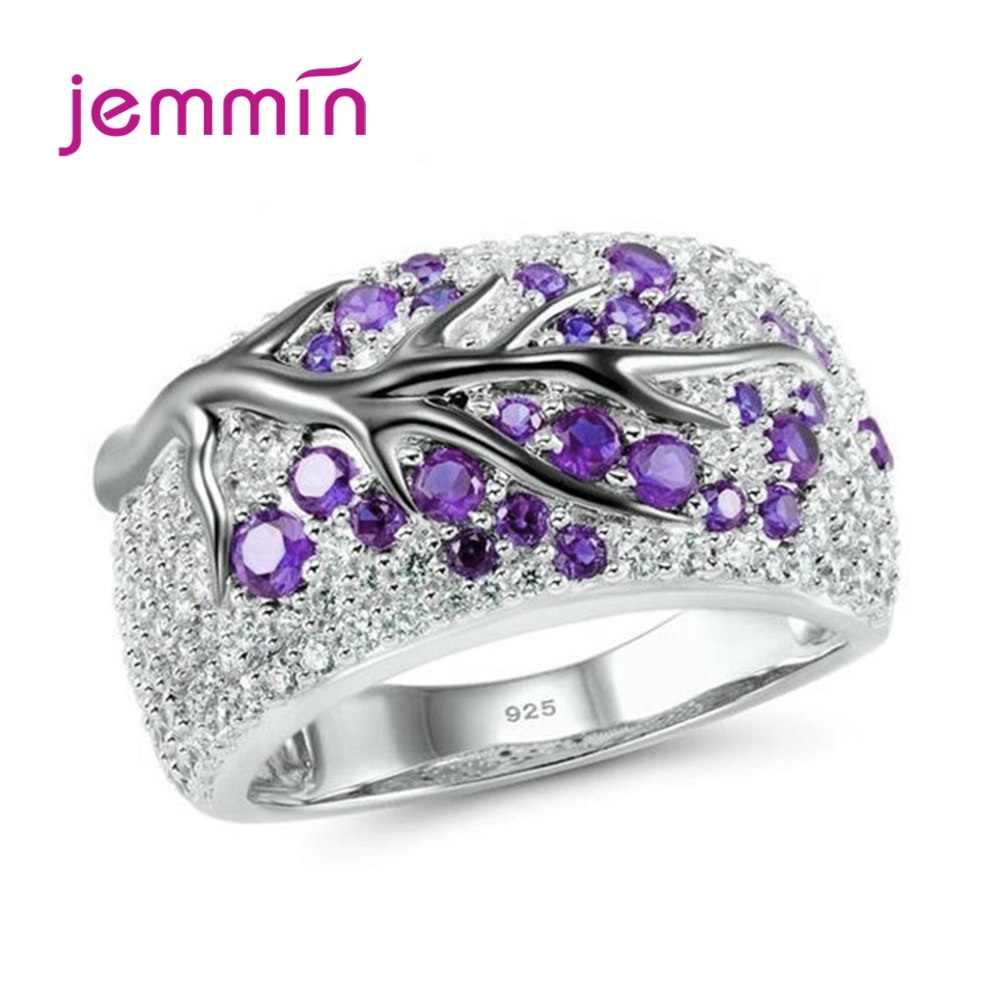 Boutique 925 Sterling Silver gałęzi drzewa kształt pierścienie dla kobiet Metal kamień Anillos Mujer ślubna dla nowożeńców biżuteria na prezent zaręczynowy
