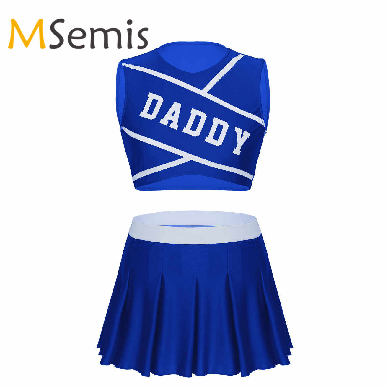 Frauen Cheerleader Uniform Schülerin Karneval Dancewear Crop Top mit Mini Plissee Rock Rolle Spielen Cheerleading Kostüm