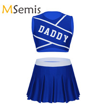 Dancewear-Crop-Top Pleated-Skirts Schoolgirl Cheerleader-Uniform with Mini Role-Play