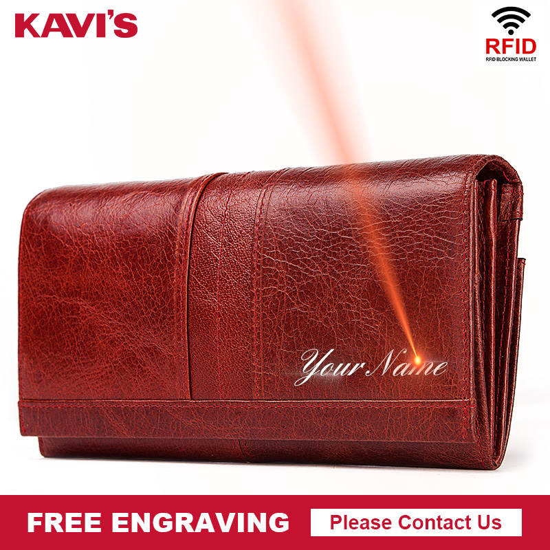 KAVIS Free Engraving Genuine Leather Women Wallet Female Coin Purse Hasp Portomonee Clutch Money Bag Lady Handy Long Girls