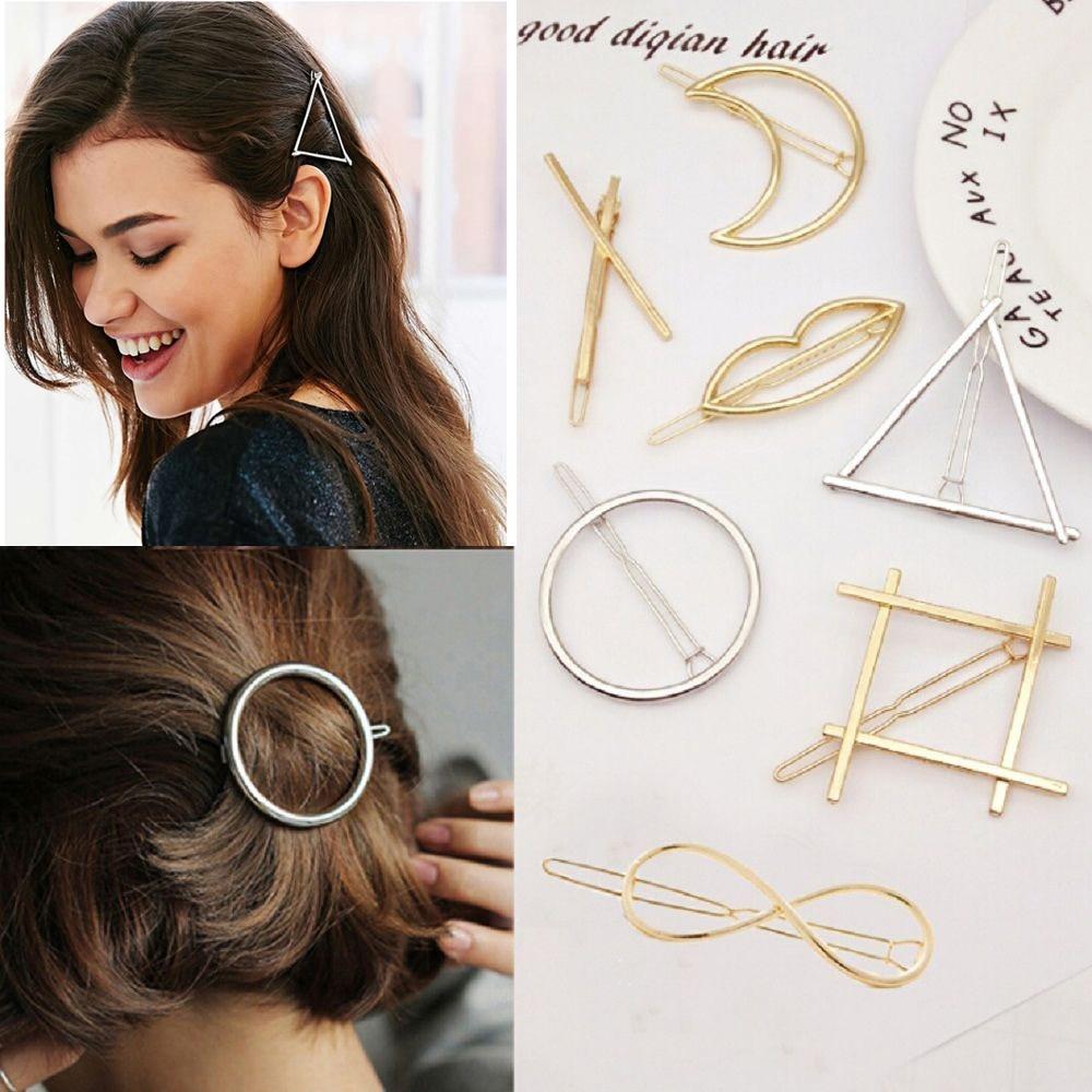 Fashion Hollow Geometric Hair Clip For Women Elegant Triangular Moon Lip Circle Metal Barrette Stick Hairpin Head Accessories