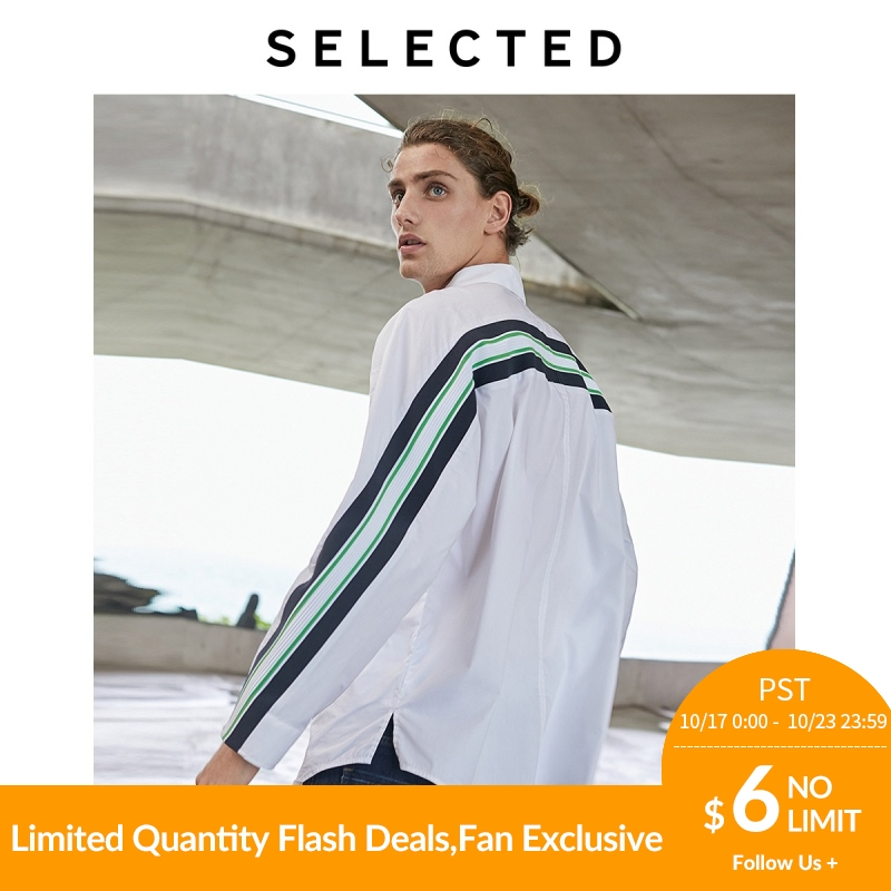 SELECTED Men Loose Fit Stripe Splice Silhouette Long-sleeved Shirt S 419305549【Fan Get New Arrivals Coupons In The Description】