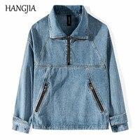 Half Zipper Mens Denim Jackets Streetwear Harajuku Blue Black Jean Jacket Distressed Men Multiple Zippers Patchwork Coats