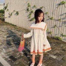 купить Baby Girls Dress 1-7T New Autumn Lapel Princess Casual Solid Color Sweet Toddler Girl Children Long Sleeve Dress #m онлайн