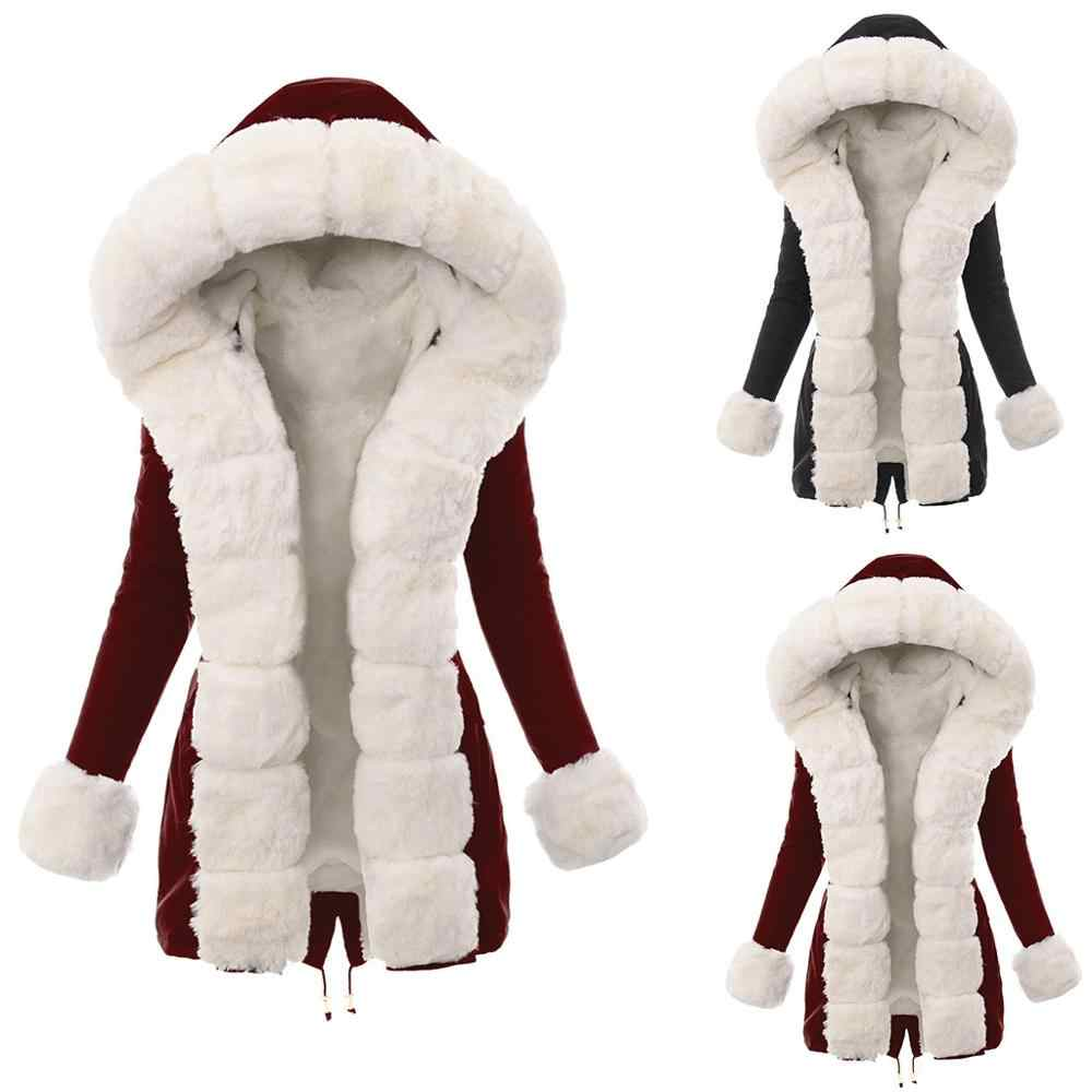 womens hooded faux fur coat plus size Ladies Fur Lining Coat Womens Winter Warm Thick Long Jacket Hooded Overcoat S-XXXL Hot
