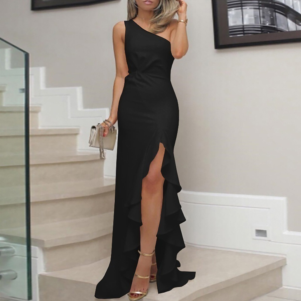 New Summer Women Dress One Shoulder Ruched Ruffle Formal Evening Party Dress Slim Maxi Long Dresses