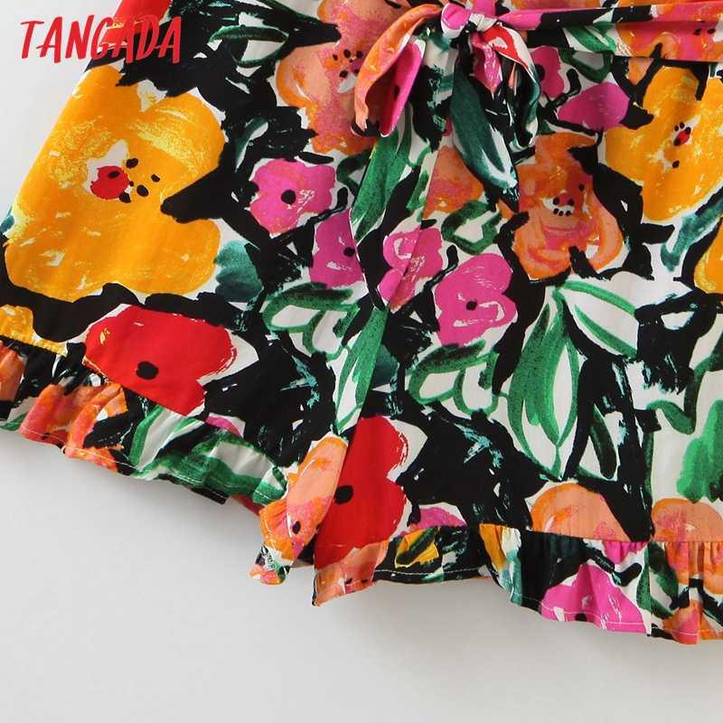 Женский комбинезон на бретельках Tangada, повседневный комбинезон из вискозы с цветочным принтом, QW14