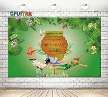 Niestandardowe Tinker wróżki fotografia tło dzieci urodziny noworodka prysznic zdjęcie tło zielony Vinyl foto budka rekwizyty