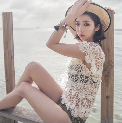 Korean-style New Style Hollow Out Sexy Knitted Short Sleeve Bikini Veils Outer Blouse Beach Holiday Sun Shirt Women's