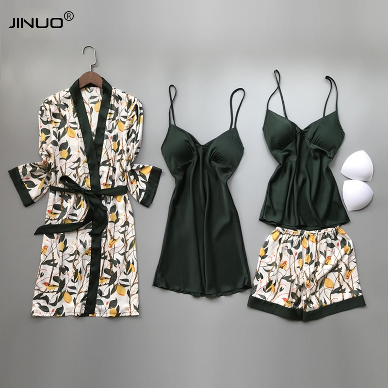 JINUO 2020 Women Silk Pajamas Sets With Chest Pads Ladies Print Pijama Sleepwear Lounge 4 Pieces Spaghetti Strap Satin Pyjamas