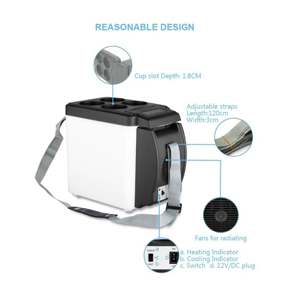 12V 6L Portable Car Refrigerator Mini Fridge Refrigerator Dual-Use Cooler Warmer Box Fridge Compressor For Office Yacht Truck RV