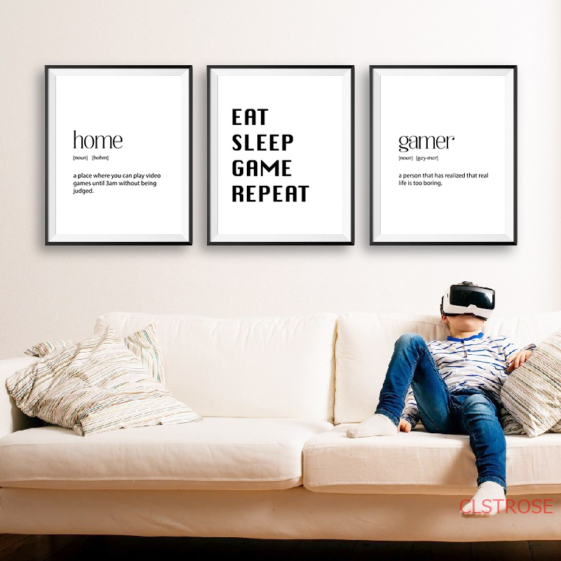 Gaming Decor Eat Sleep Game Repeat Gamer Gift Canvas Posters and Prints Teen Bedroom Wall Art Picture Painting Decoration
