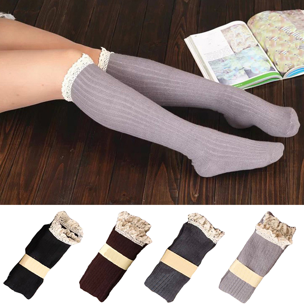 Women's Cute Lace Floral Hosiery Long Socks Winter Warm Ladies Mid Tube Socks WATHC0045
