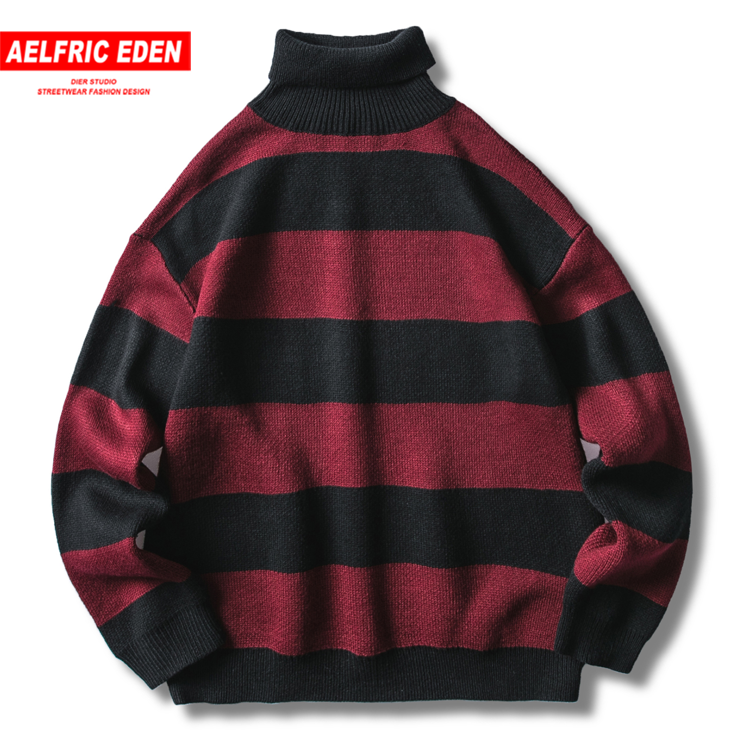 Aelfric Eden Vintage Stripe Turtleneck Mens Knitted Sweaters Fashion Male Tops 2019 Casual Harajuku Streetwear Hip Hop Pullover