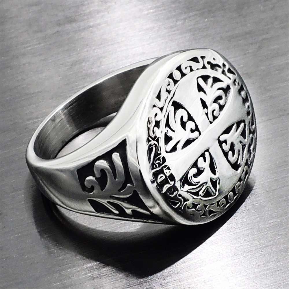 خاتم فرسان تمبلار للحظ والصليبية للرجال خاتم بانك روك الهيب هوب من التيتانيوم الفولاذ المقاوم للصدأ وخاتم زفاف السائق DAR253
