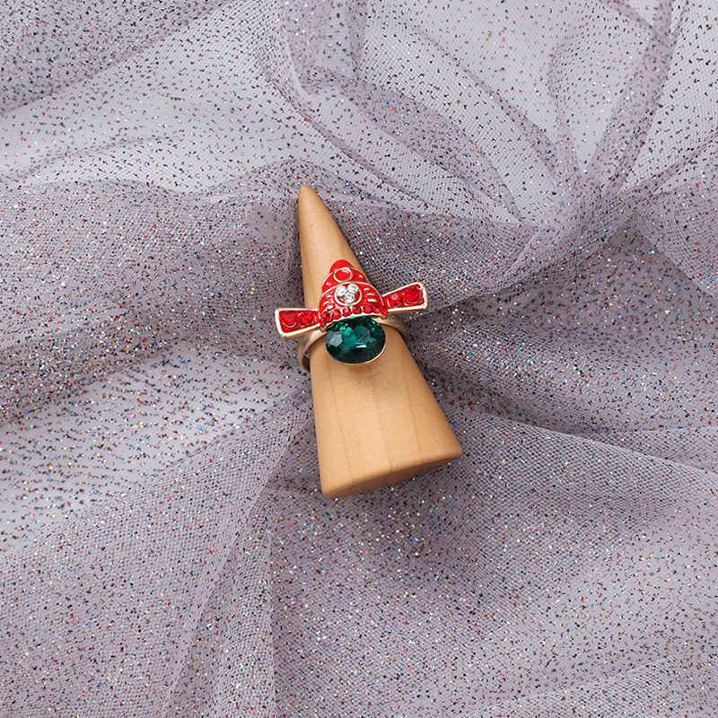 Temperament Peking Opera Faces Masks Rings Retro Simulated Pearl Female Rhinestone Opera Ring Hand Jewelry Traveling Gift
