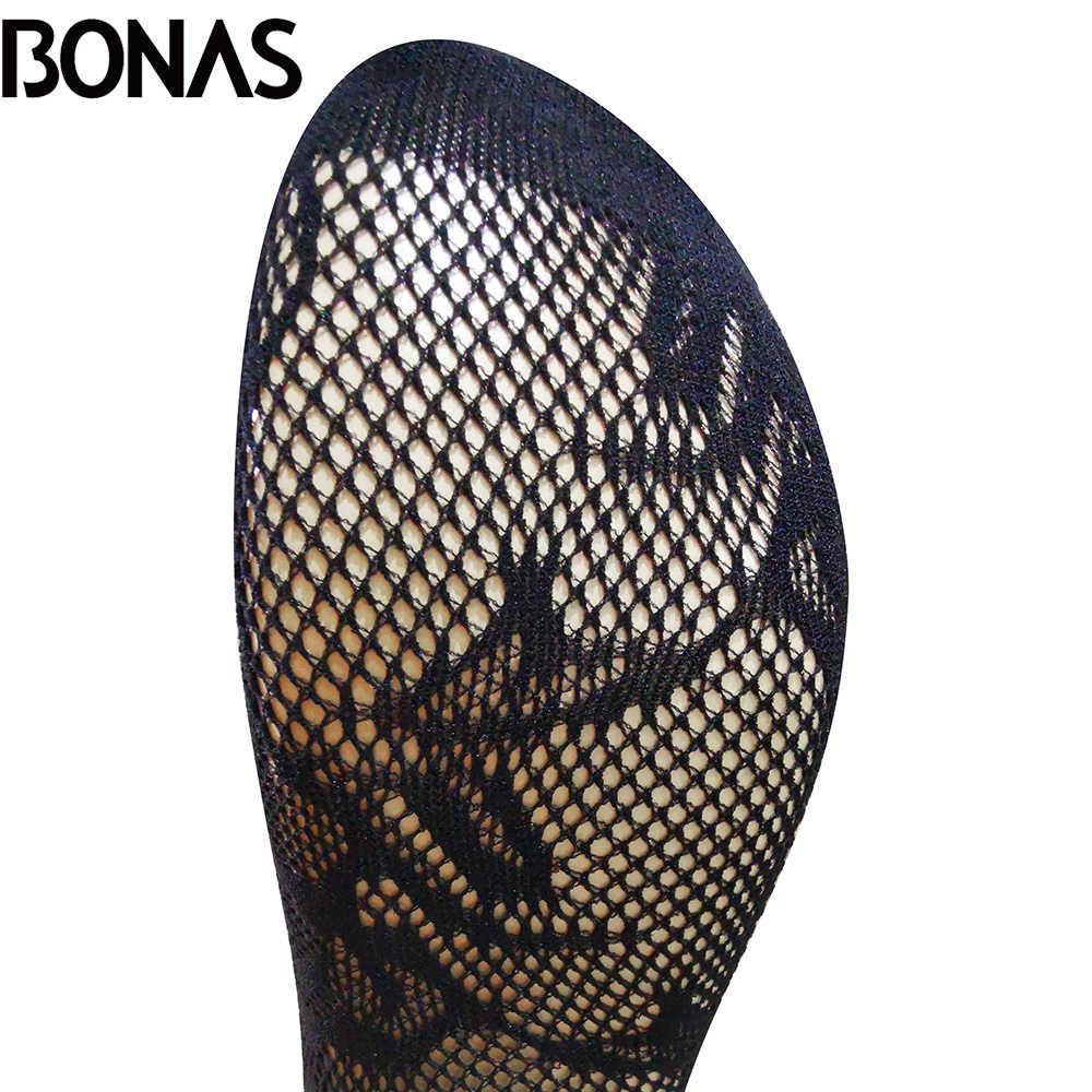 Bonas女性 5 ピース/ロット網タイツセクシーなクラブタイツメッシュネットストッキング黒ナイロン喜び中空女性ストッキングcollant